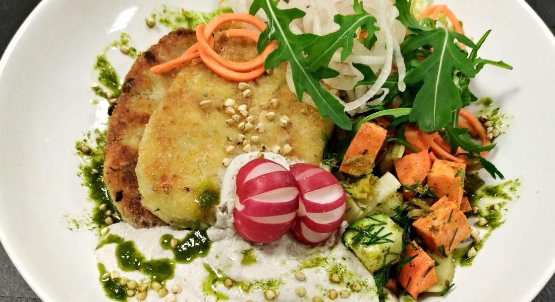 Tarkuotų bulvių ir grikių bei daržovių kepsneliai